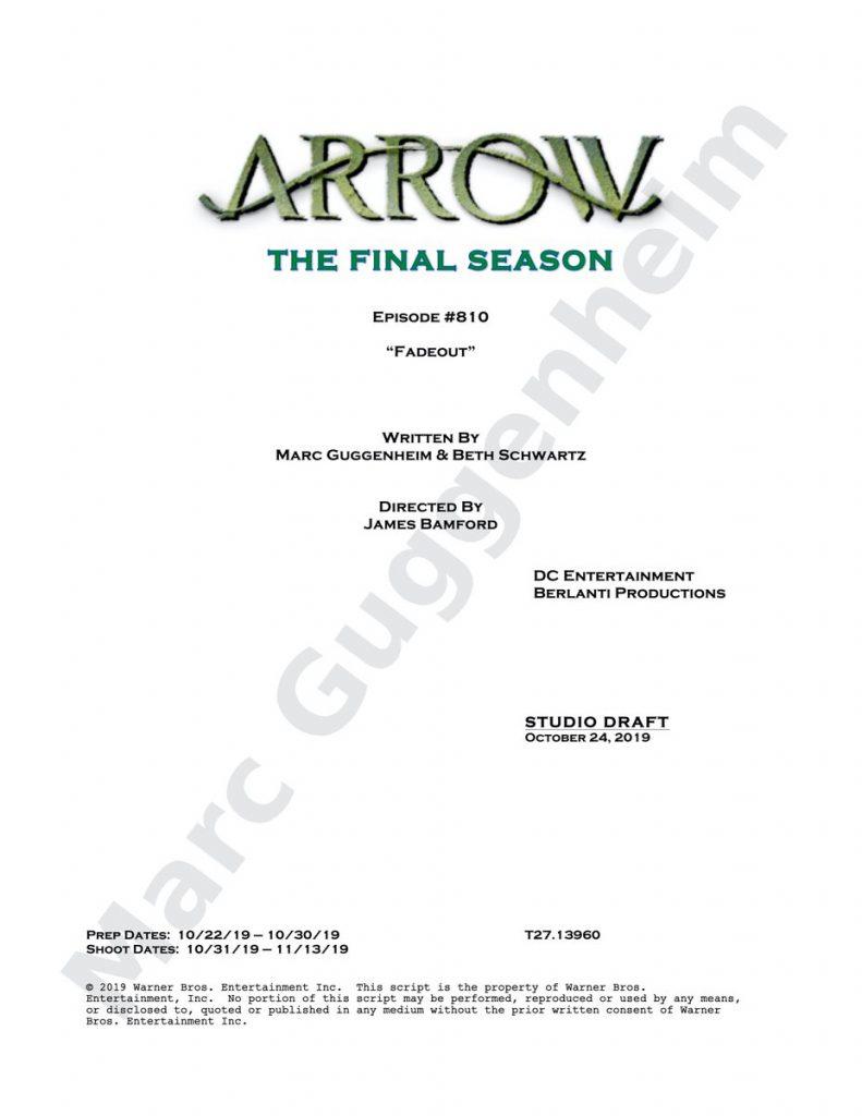 #Arrow | Revelado o título do último episódio da série Junto foi divulgado a última página do script